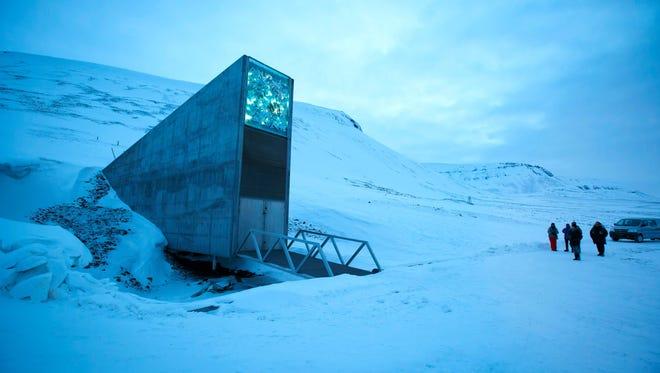 The entrance of the Svalbard Global Seed Vault outside Longyearbyen on Spitsbergen, Norway, on Feb. 29, 2016.