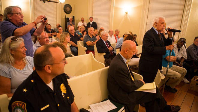 """Vincent """"Jimmy"""" Gambacorta (right) approaches the microphone after he was appointed mayor of New Castle on Tuesday by the New Castle City Council at Town Hall."""