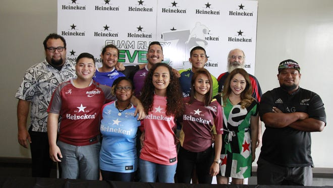 Athletes and officials of the Guam Rugby Football Union at the Guam Rugby Seven's press conference on Thursday, Aug,  24.