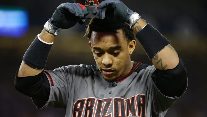 Arizona Diamondbacks' Ketel Marte reacts after popping out against the Los Angeles Dodgers in the 9th inning during Game 2 of the NLDS on Saturday, Oct. 7, 2017 at Dodger Stadium in Los Angeles, California.