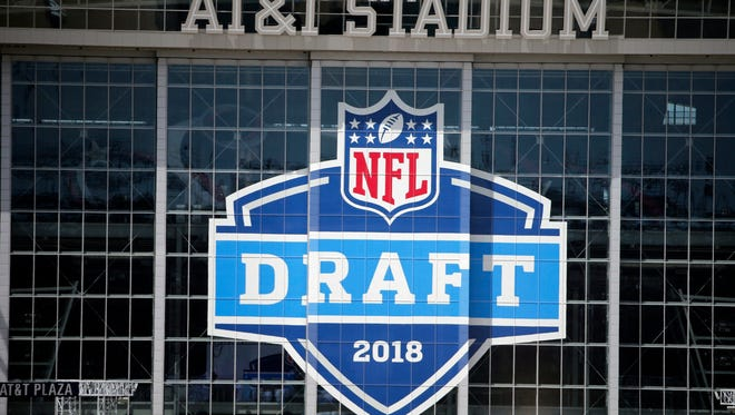 A view of AT&T Stadium as preparations for the upcoming NFL football draft are underway in Arlington, Texas, Sunday, April 22, 2018.