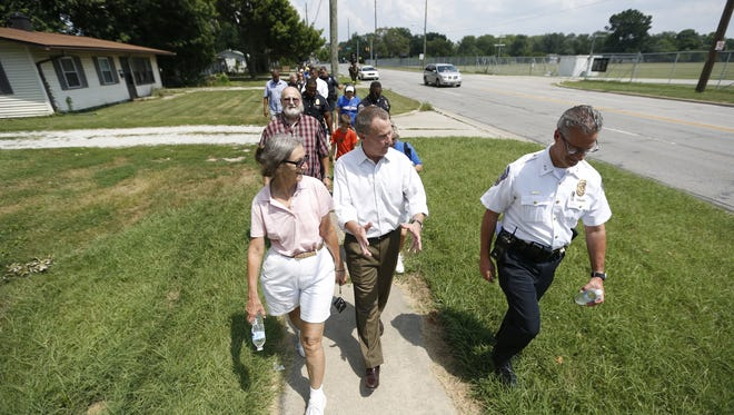 Indianapolis Mayor Joe Hogsett leads his public safety walk in the Northwest District on Wednesday, July 25, 2018.