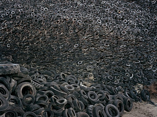 "Edward Burtynsky, ""Oxford Tire Pile #9b, Westley, California, USA."""