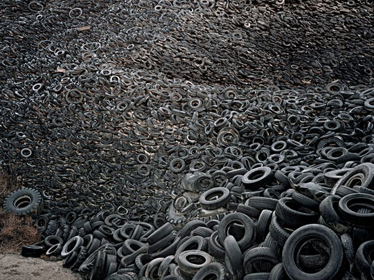"Edward Burtynsky, ""Oxford Tire Pile #9a, Westley, California, USA."""