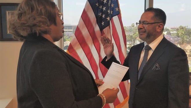 V. Manuel Perez was sworn-in May 12, 2017, by Riverside County Clerk of the Board of Supervisors Kecia Harper-Ihem.