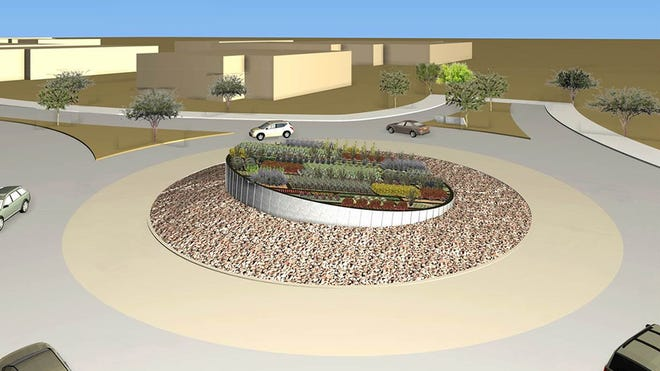 This is a rendering of one of five roundabouts expected to be built during the Raintree Drive project in Scottsdale, which was supposed to begin this year.