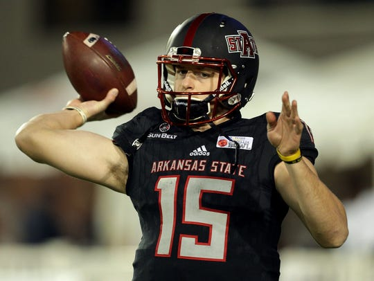 Arkansas State's Justice Hansen (15) enters his senior year as the most productive quarterback in Sun Belt Conference history.