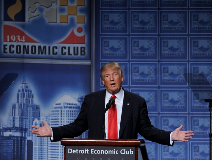 Republican presidential nominee Donald Trump addresses