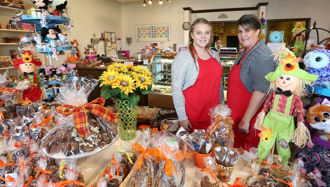 Grace DeRosa, left, and Linda Reiner of Matisse Chocolatier in Orangeburg are participating in the hashtag empowered event for the first time.  Wednesday, Nov. 25, 2015.
