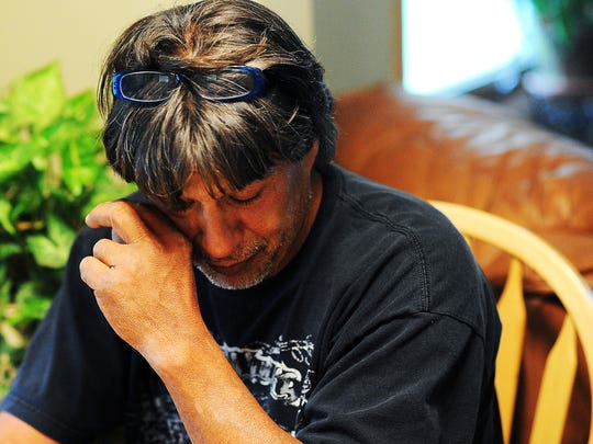 Carl Stevens, whose wife was hit by a van and died on Sunday during a 125th anniversary celebration of the Salvation Army, is emotional as he recalls his wife on Monday, July 14, 2014, at his home in Sioux Falls, S.D.