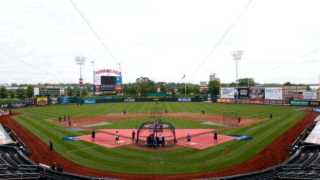 The Missouri State Bears baseball team practices at Hammons Field on Thursday, May 28, 2015.