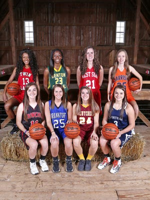 Area girls basektball stars for the J&C Hoops Classic. First row left to right: Rylie Pittard, Taylor Kirby, Kerstyn Lowery and Emily Burks. Back row left to right: Laurhen Pickett, Evonnie Payne, Lorelei Turner and Courtney Jacobsen.