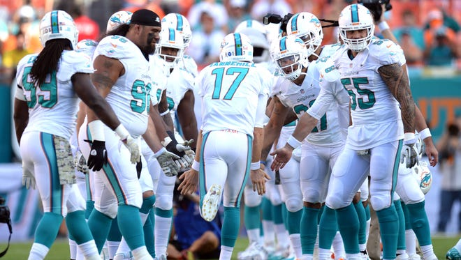 Miami Dolphins quarterback Ryan Tannehill (17) is introduced before the first half against the San Diego Chargers at Sun Life Stadium. The Dolphins won the game 20-16.