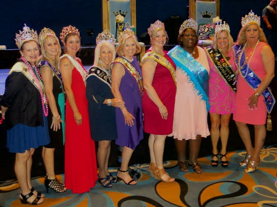 Mardi Gras in the Ark-La-Tex queens line up for a photo