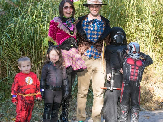 From left: Zach (3), Addison (5), Pam Braska, Craig Wassenaar, Brady (9) and Levi (5), traveled from Grand Rapids to Binder Park Zoo for the Zoo Boo event.