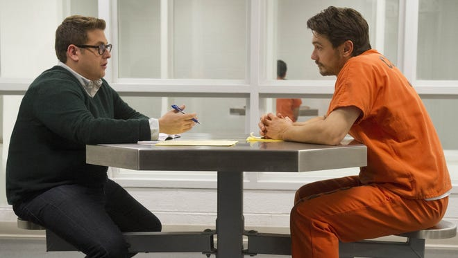 """Jonah Hill as reporter Michael Finkel and James Franco as accused murderer Christian Longo in """"True Story."""""""