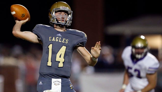 Independence quarterback Nathan Cisco throws to a receiver during their game against CPA, Friday, Oct. 6, 2017, in Nashville, Tenn. (Photo by Wade Payne, Special to the Tennessean)
