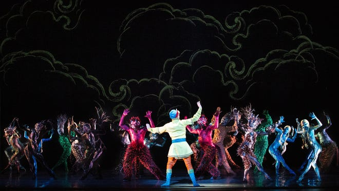 "Prince Ivan faces off against against the evil sorcerer Kastchei's monsters in Miami City Ballet's new production of George Balanchine and Jerome Robbins' ""Firebird.""  The company will perform the ballet Friday to Sunday at the Kravis Center in West Palm Beach."