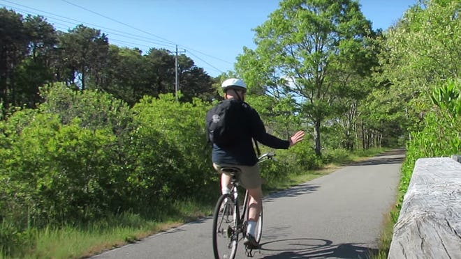 Zooming through Orleans on the Cape Cod Rail Trail.
