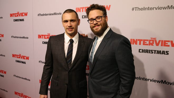 "James Franco and Seth Rogen attend the Los Angeles premiere of ""The Interview."""