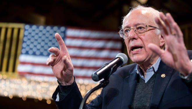 Democratic presidential candidate Sen. Bernie Sanders, I-Vt. speaks at the Fort Museum Opera House in Fort Dodge, Iowa.