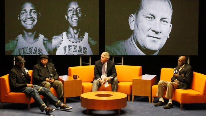 David Latin, Willie Worsley, CBS Sports host Jack Ford and Orsten Artis discuss what it was like playing for coach Don Haskins on the Miners' 1966 NCAA National Basketball Championship team during an interview at Memorial Gym.