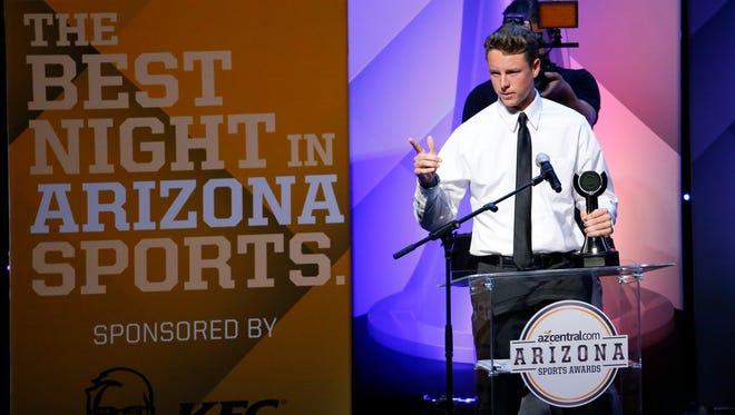 Best Moment Award: Matt McDonald of Phoenix Greenway (baseball) accepts his award during the Arizona Sports Awards at the Orpheum Theatre in Phoenix on June 5, 2016.