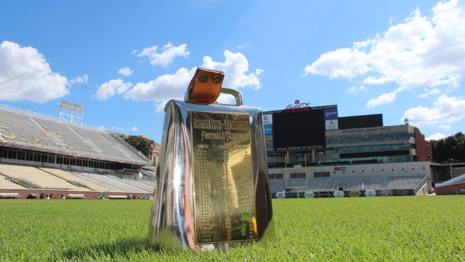 Cowbell trophy for the Vanderbilt-Georgia Tech series since 1924.