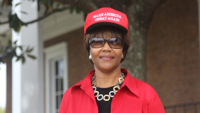 """Mary Milton wears her """"Make America Great Again Hat"""" in support of Donald Trump."""