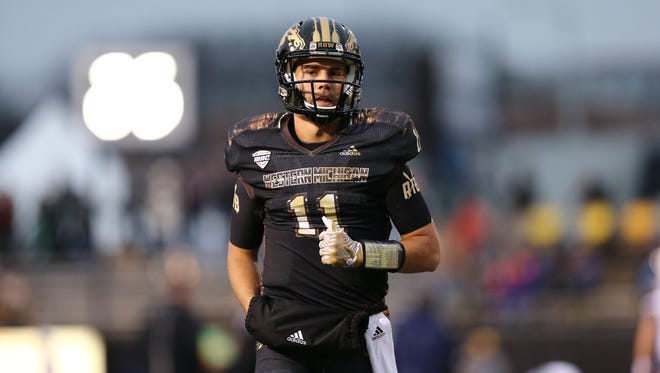Zach Terrell of the Western Michigan warms up prior to a game against the Toledo Rockets on Nov. 25, 2016, in Kalamazoo.