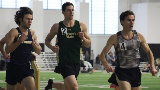 Colorado State junior Hunter Price (2), shown running a race on the track earlier this season, matched a school-record in the high jump while winning the event Friday at the Mountain West Indoor Championships in Albuquerque. N.M.