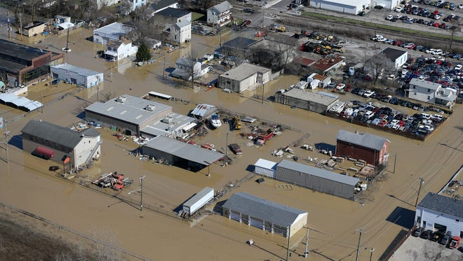 Aerial photograph of business along Kellogg Avenue in Cincinnati's East End neighborhood as flood waters break the banks of the swollen Ohio River, Monday, Feb. 26, 2018. The river crested at 60.7 feet Sunday evening, according to the National Weather Service. The river rose above the 60 feet mark for the first time in two decades Sunday morning.