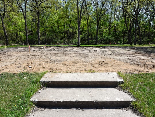 The old shelter in Watab Creek Park has been removed