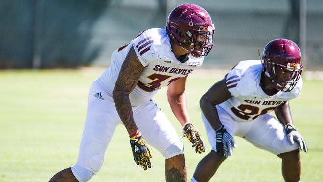 Linebacker Marcus Ball practices with the Arizona State football team on August 15, 2017.