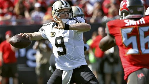 New Orleans Saints quarterback Drew Brees (9) is expected to start Sunday against Dallas.
