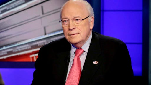 """FILE - In this Dec. 9, 2013 file photo, former Vice President Dick Cheney is interviewed by Neil Cavuto for his program """"Cavuto,"""" on the Fox Business Network, in New York. Adam McKay will write and direct a film about Cheney for Paramount Pictures. A representative for Paramount on Tuesday, Nov. 22, 2016, confirmed that McKay has written a script about the former Vice President and hopes to begin shooting this spring,"""