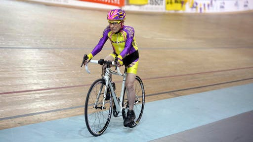 French cyclist Robert Marchand, 105, pedals in a bid to beat his record for distance cycled in one hour, at the velodrome of Saint-Quentin en Yvelines, outside Paris, Wednesday, Jan. 4, 2017.