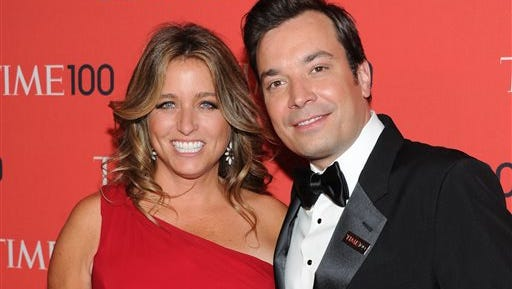 """FILE - In this April 23, 2013 file photo, Talk show host Jimmy Fallon and wife Nancy Juvonen attend the TIME 100 Gala celebrating the """"100 Most Influential People in the World"""" at Jazz at Lincoln Center in New York."""