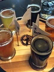 A flight of beer at the Flathead Lake Brewing Co. in Bigfork includes some of the breweries most popular beers and some seasonal pours.
