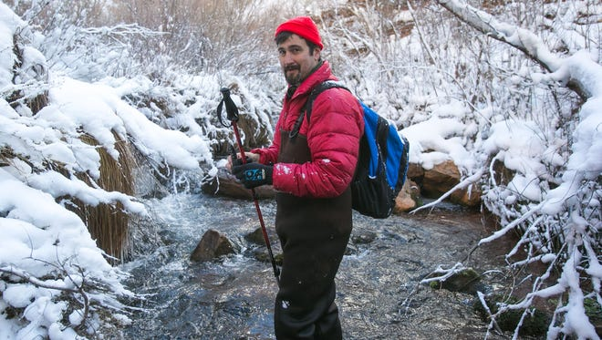 Republic reporter Brandon Loomis on assignment at Bright Angel Creek near Roaring Springs at the North Rim of the Grand Canyon National Park on Feb. 11, 2013.