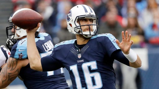 Quarterback Matt Cassel throws a pass with the Tennessee Titans during a game Jan. 1, 2017.