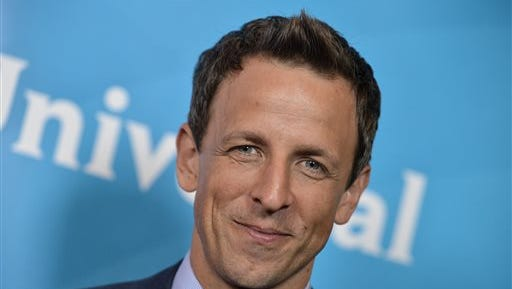 FILE - This July 13, 2014 file photo shows Seth Meyers at the NBC 2014 Summer TCA held at the Beverly Hotel in Beverly Hills, Calif. Meyers will serve as master of ceremonies when ?The Prime-Time Emmy Awards? airs Monday at 8 p.m. EDT on NBC. (Photo by Richard Shotwell/Invision/AP, File)