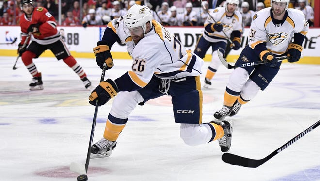 Predators forward Harry Zolnierczyk had one goal in four games against the Blackhawks in the first round.