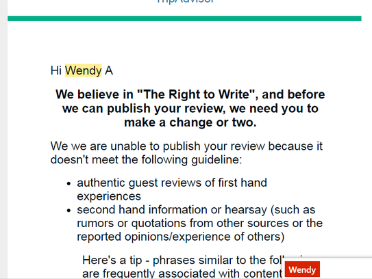 TripAdvisor declined to publish Wendy Avery-Swanson's review.