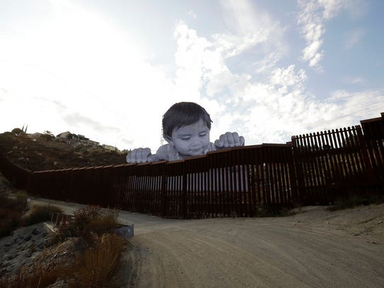 A mural in Tecate, Mexico, sits just beyond the border