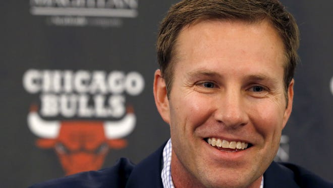 Chicago Bulls new head coach Fred Hoiberg smiles during an NBA basketball news conference where he was introduced by general manager Gar Forman, Tuesday, June 2, 2015, in Chicago.