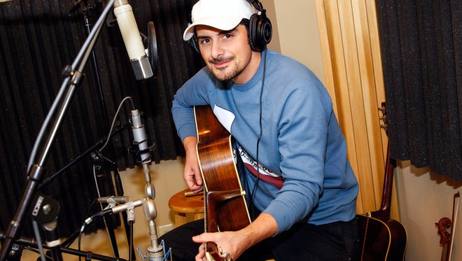 """Brad Paisley in the recording studio for the animated motion picture """"Planes: Fire & Rescue."""""""