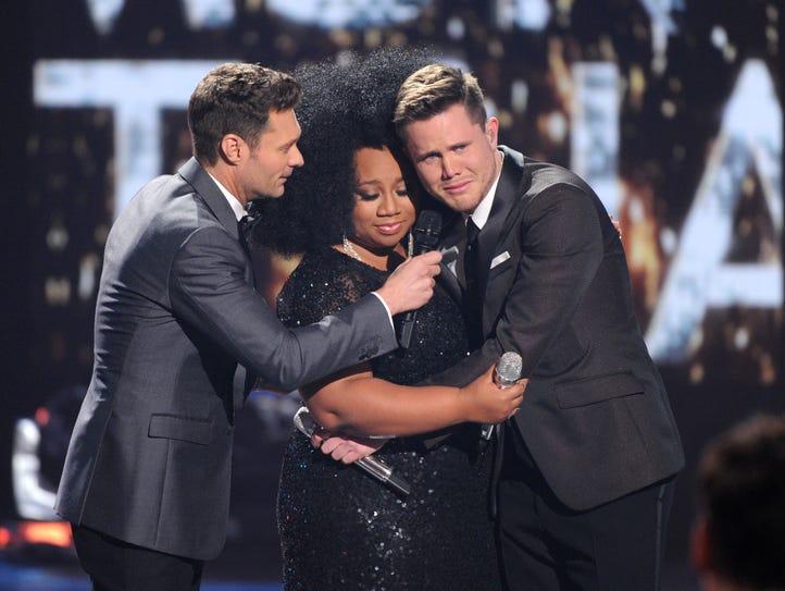 """American Idol"" host Ryan Seacrest, left, announces"