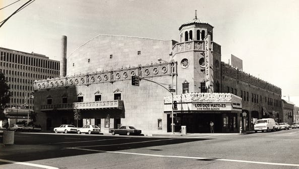 The Orpheum Theatre, a Spanish colonial theater built