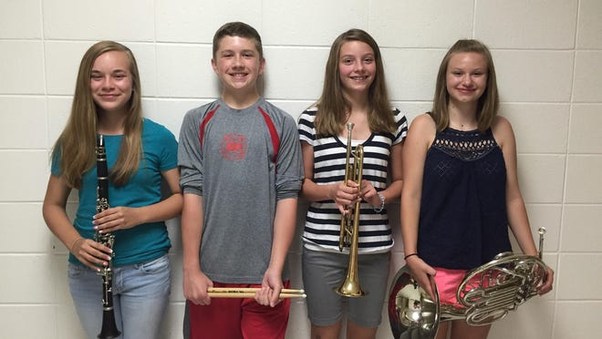 Local eighth-grade students have been selected by their band directors to perform on a march with the Fond du Lac Symphonic Band on July 22 at Buttermilk Creek Park. The Family Night program starts at 7:15 p.m. Shown in the photo, left to right: Katie Muck and Jake O'Donnell from Theisen; Vicki Letkewicz and Madeline Chase from Sabish. Not present for photo: Steven Schomisch from Theisen and Isabella Mendoza from Sabish.